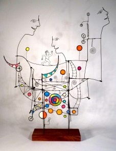 Prayer Machine 217. My Prayers Are Dance Steps Of Unsteady Splendor - Wire Sculpture by James Paterson, Ontario, Canada