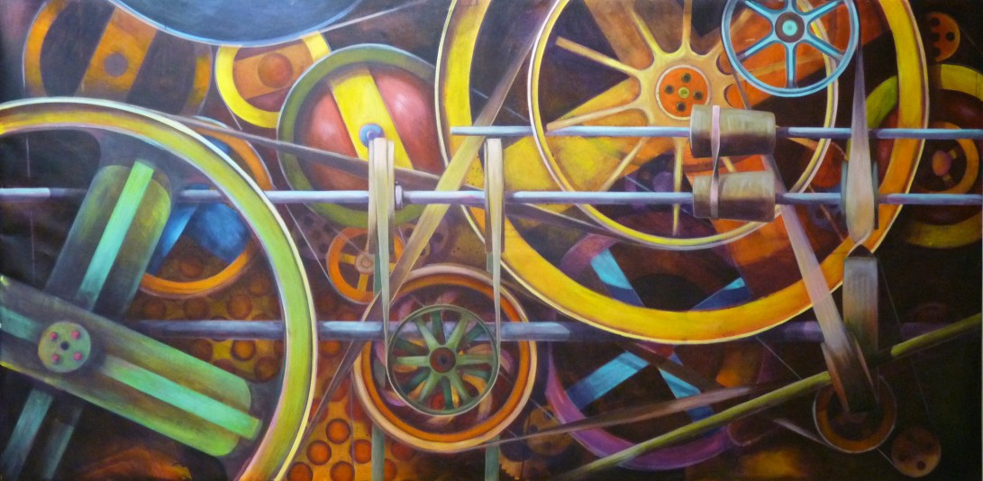 MOVEMENTS WITHIN A CERTAIN FRAMEWORK  Acrylic on canvas  48 x 96 inches