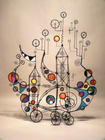 Prayer Machine 340. Where Has Extravagance Gone? - Wire Sculpture by James Paterson. Ontario, Canada