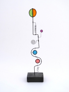 Prayer Machine 272 S 2-4 The Art Of Prayer Is To Listen - Wire Sculpture by James Paterson, Ontario, Canada