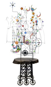 Prayer Machine 384. I Live In A Land With Many Moving Parts. Wire Sculpture by James Paterson, Ontario, Canada
