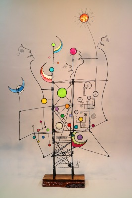 Prayer Machine 412. Be Sure To Find Yourself Speaking Light Against The Darkness- Wire Sculpture by James Paterson, Ontario, Canada